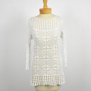 Jeanne Pierre White Open Knit Sweater